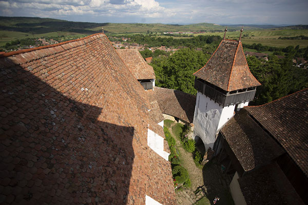 Panoramic view from the roof of the fortified church of Viscri - 罗马尼亚
