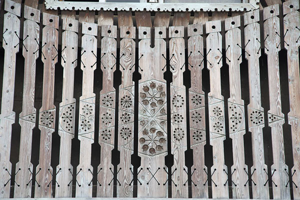 Close-up of decorated woodwork on a house | Esso | Russia