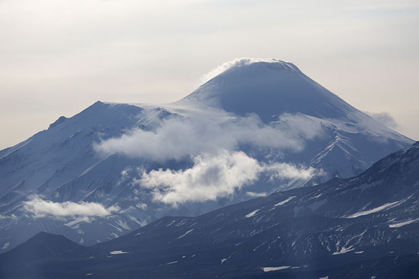 Plume of smoke coming out of Avachinsky volcano | Kamchatka from the air | Russia