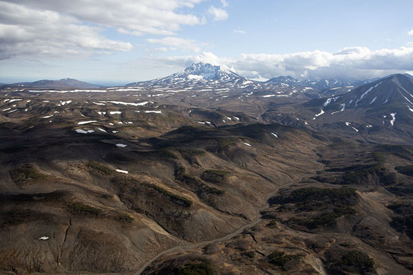 Landscape of central Kamchatka with Bolshoy Seyachik | Kamchatka from the air | Russia