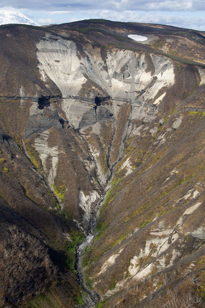 Traces of erosion in a narrow valley in central Kamchatka | Kamchatka from the air | Russia