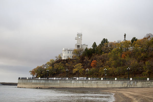 River beach and Khabarovsk Cliffs with tower | Khabarovsk | Russia
