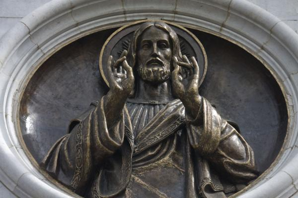 Sculpture of Christ in the wall of the cathedral | Cathedral of Christ the Saviour | Russia