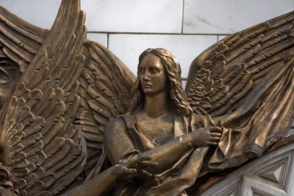 Detail of angel sculpted around a doorframe of the cathedral | Cathedral of Christ the Saviour | Russia