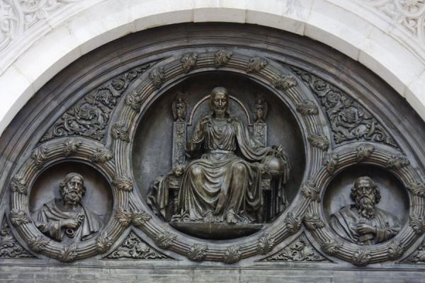 Detail of a decoration on top of a door of the cathedral | Cathedral of Christ the Saviour | Russia