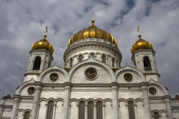 Picture of Cathedral of Christ the Saviour (Russia): View of the cathedral with clouds in the background