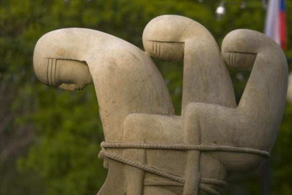 Women tied together in a sculpture in the Sculpture Park | Sculpture Park | Russia