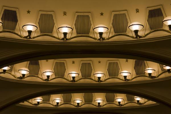 Lanterns in circular openings in the ceiling at Mayakovskaya subway station | Gares de Metro de Moscou | Russie