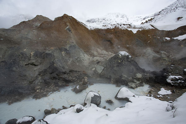 Mountain stream getting milky colour because of hot spring | Mutnovsky volcano | Russia