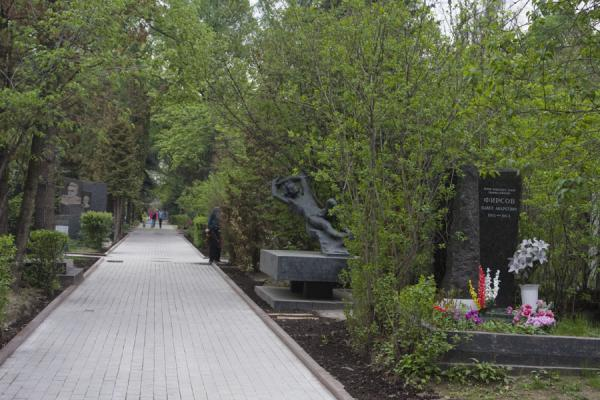 Foto van One of the lanes of Novodevichy Cemetery with graves and sculpturesNovodevichy Klooster en Begraafplaats - Rusland