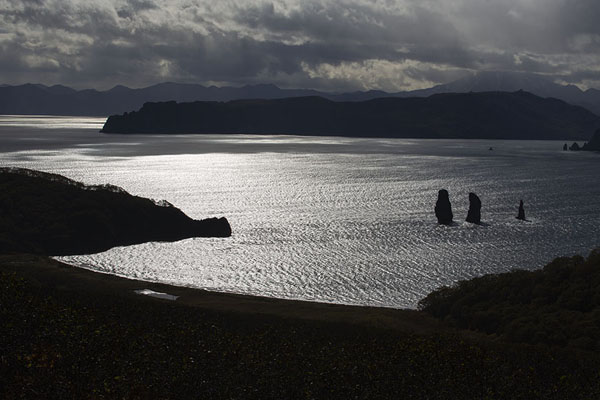Avachinsky Bay with the Three Brothers rising from the sea as protectors | Three Brothers Peninsula | Rusia