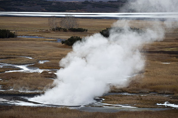 Foto van Steam rising from a thermal spring in Uzon Caldera - Rusland - Europa