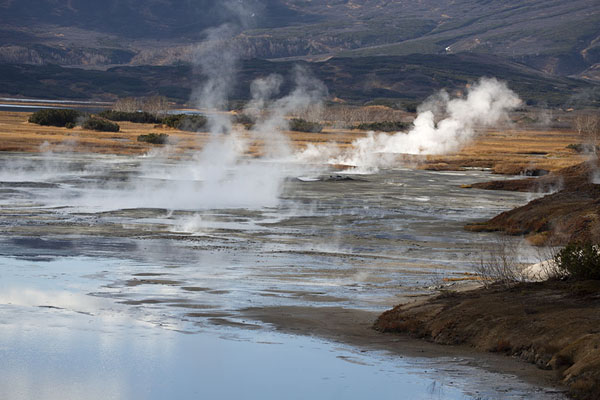 Picture of Uzon Caldera (Russia): Steam coming off a thermal lake in Uzon Caldera