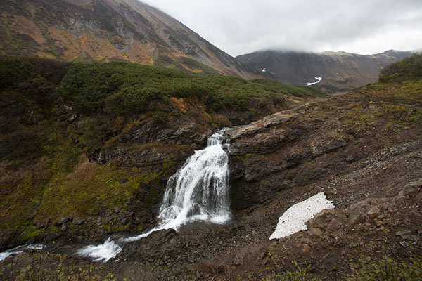 View of the waterfall with the valley in the background | Vachkazhets | Russia