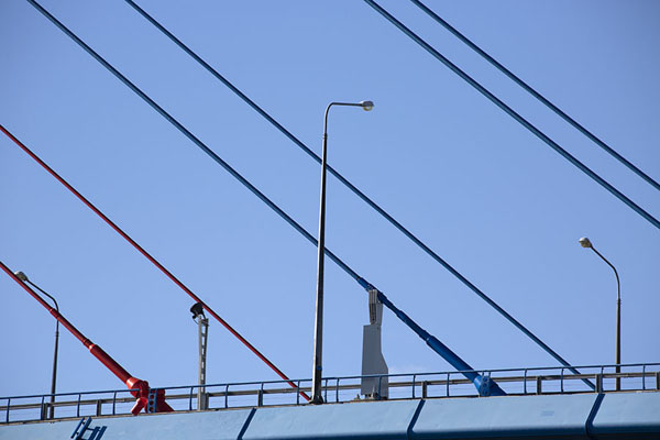 Close-up of coloured cables of Russky bridge | Vladivostok bruggen | Rusland