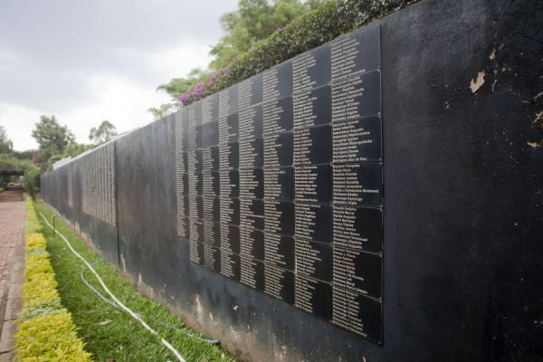 Long wall partly covered by names in the Memorial Centre | Kigali Genocide Memorial Centre | Rwanda