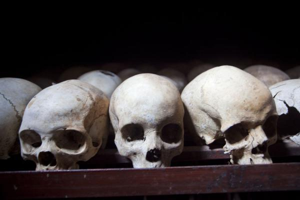 Some of the skulls in the cellar behind the former church of Nyamata | Nyamata Genocide Memorial | Rwanda