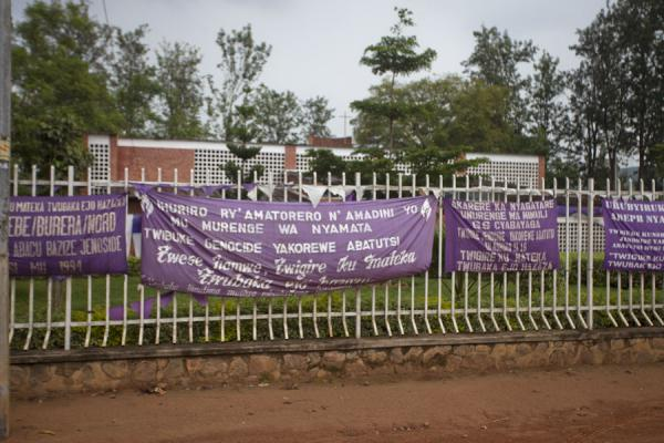 Picture of The fence around the Genocide Memorial of Nyamata with anti-genocide slogansNyamata - Rwanda