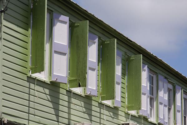 Picture of Basseterre (Saint Kitts and Nevis): Wooden shutters in a building in Basseterre