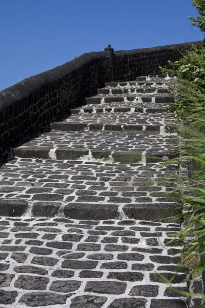 Picture of Brimstone Hill Fortress (Saint Kitts and Nevis): Black steps leading up to the Fort George citadel, the highest point of the Brimstone Hill Fortress National Park