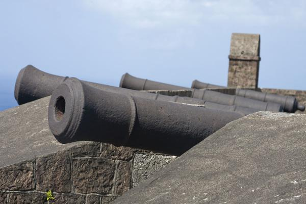 Foto van Cannons lined up on the walls on top of Fort George citadelBrimstone Hill Fortress - St Kitts en Nevis
