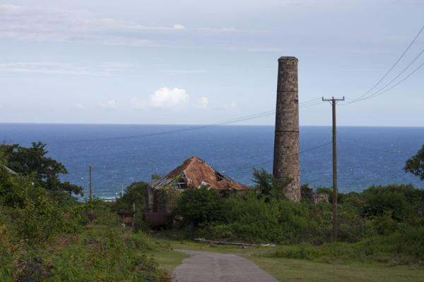 Foto van Chimney and house on New River estateNevis plantages - St Kitts en Nevis