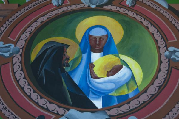 Black Joseph, Mary and Jesus depicted on a wall painting inside the cathedral of Castries | Castries Cathedral | Saint Lucia