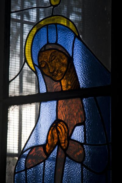 Close-up of a stained glass window in the cathedral of Castries | Castries Cathedral | Saint Lucia