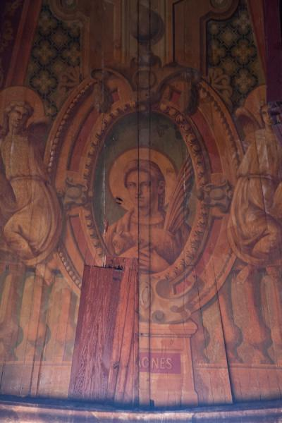 Religious scene in wooden panel in the cathedral of Castries | Castries Cathedral | Saint Lucia