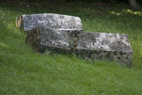 Foto de Tombs in a small cemetery on Pigeon IslandPigeon Island - Santa Lucia