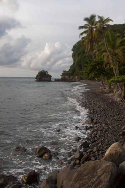 The northern end of Anse Chastanet: a narrow beach, palm trees, and rock formations in the sea | Plages de Soufrière | Sainte Lucie