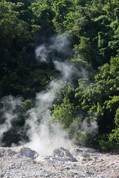 Steam coming from the earth where hot air comes out | Sulphur Springs | Saint Lucia