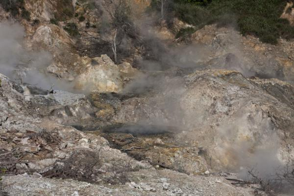 Close-up of the area with steam coming out of the earth | Sulphur Springs | Saint Lucia