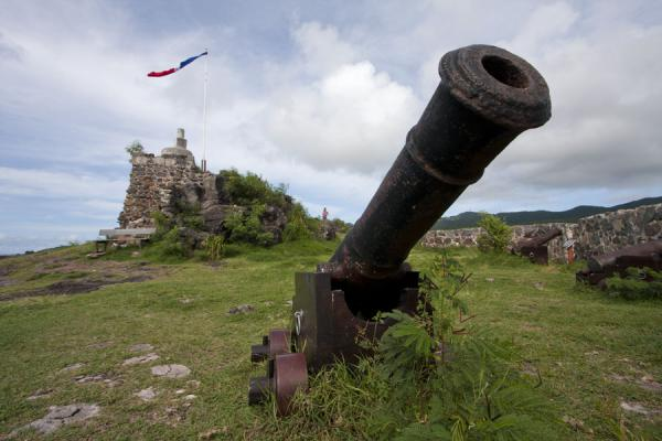 的照片  (Cannon of Fort St Louis with the ruins of the fort in the background)