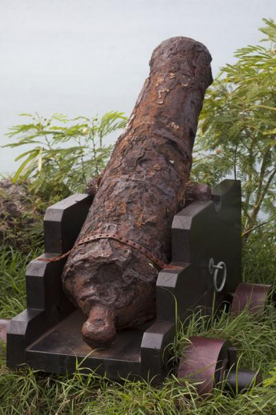 Picture of Rusty cannon pointing at the sea surrounding MarigotMarigot - Saint Martin