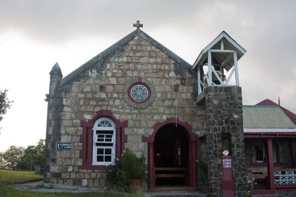Picture of Catholic church on top of the hill of Old Wall, the only settlement on Mayreau