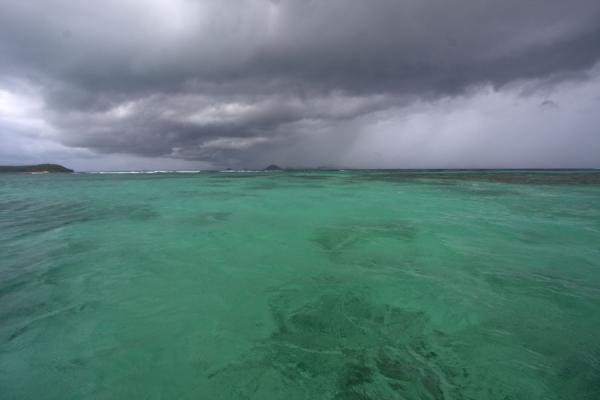 Foto van Green sea and dark clouds over the Tobago CaysTobago Cays - Saint Vincent en de Grenadines