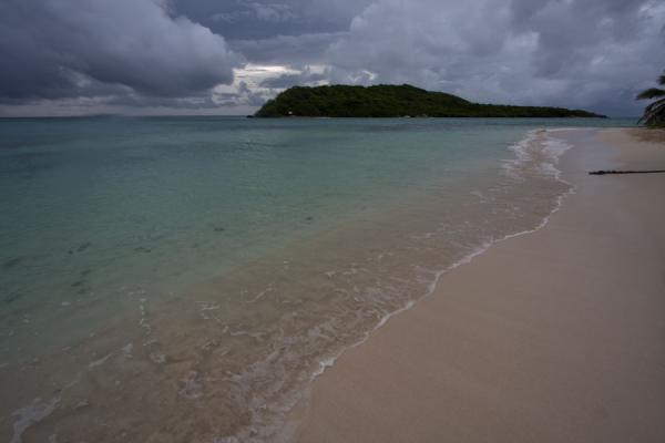 Foto van Beach with turquoise sea at Petit Bateau islandTobago Cays - Saint Vincent en de Grenadines