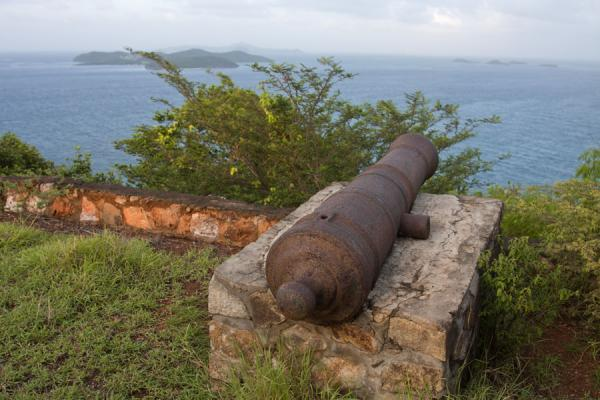 Picture of Union  Island (Saint Vincent and the Grenadines): Cannon at the old fort above Clifton, with a view over the sea, Tobago Cays and Mayreau