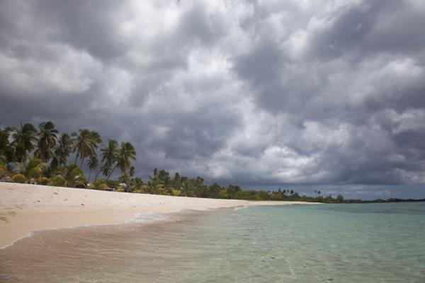 Picture of Falealupo (Samoa): White Falealupo beach with a cover of grey clouds