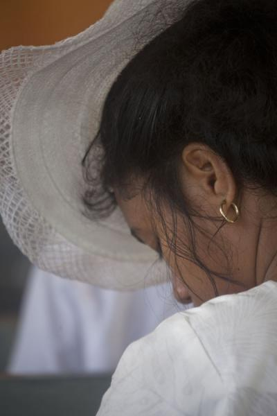 Young woman dressed in white during church service | Falealupo | Samoa