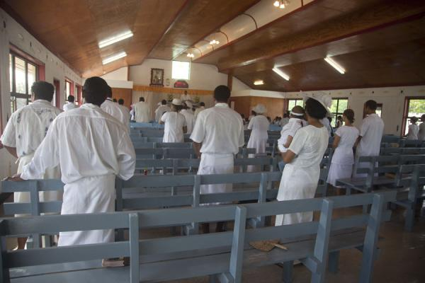 At the start of the church service with everyone singing | Falealupo | Samoa