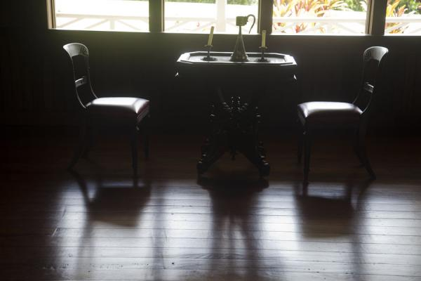 Chairs and table in the museum | Museo de Robert Louis Stevenson | Samoa