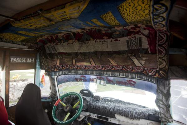 The Last Supper hanging above the driver's seat | Samoan buses | Samoa