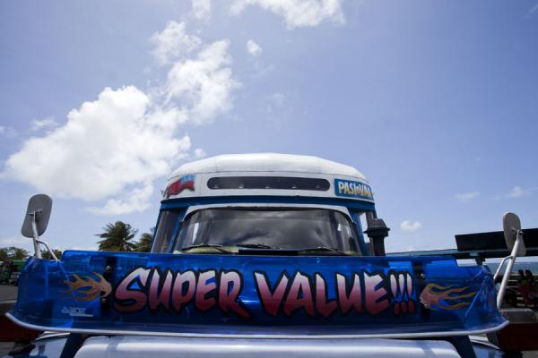 Super Value bus waiting for departure at the bus station in Apia | Samoan buses | Samoa