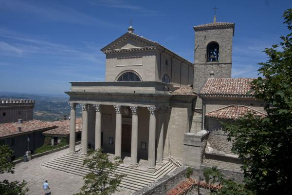 The Basilica del Santo Chiesetta di San Pietro seen from above | Historic City of San Marino | San Marino