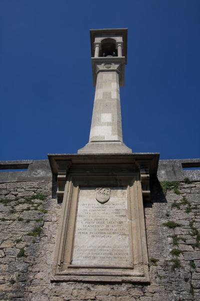 Pillar with statue near the Convento dei Cappuccini in San Marino | Historic City of San Marino | San Marino