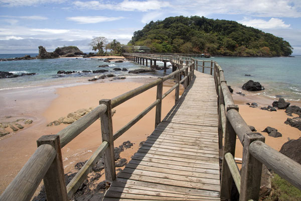 Wooden bridge with Bom Bom Island in the background | Bom Bom Island | São Tomé and Príncipe