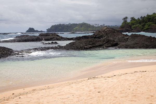 Looking north from Praia Piscina, considered one of the most beautiful beaches of the island | Southern São Tomé | São Tomé and Príncipe