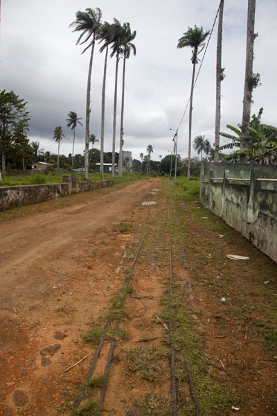 Picture of Sundy (São Tomé and Príncipe): Old railroad tracks in the dirt track near Sundy